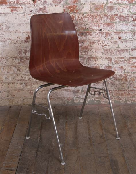 vintage rosewood bent plywood metal stacking chair