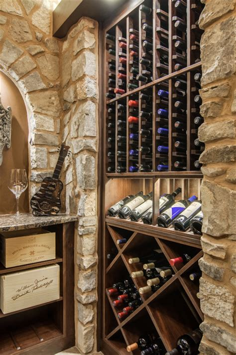 closet converted into a custom wine cellar mediterranean