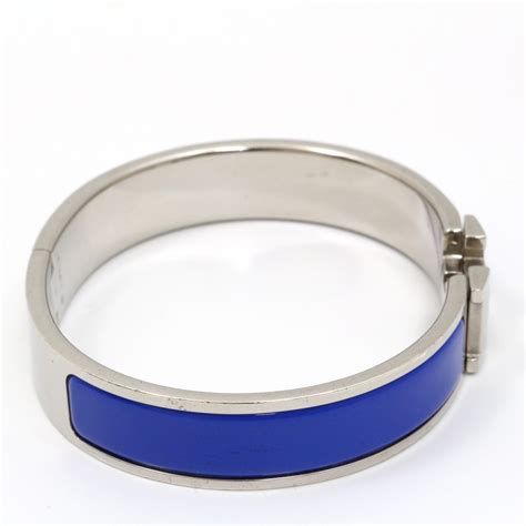 hermes h clic clac bangle u4717p authentic hermes bracelet clic clac h bangle enamel blue silver tone ebay