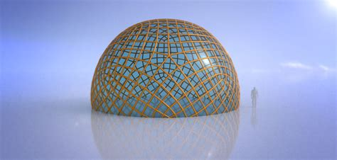 3D model Geodesic dome like enclosed structure with glass