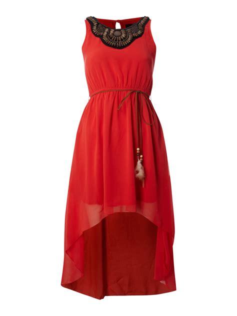 madam rage beaded dipped hem dress  red lyst