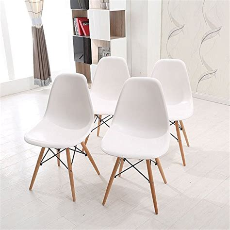 wv leisuremaster lot de 4 chaises blanches de salle 224 manger chaise de cuisine avec pieds en bois