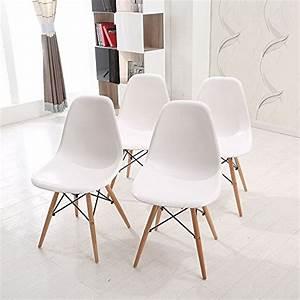 Wv leisuremaster lot de 4 chaises blanches de salle a for Deco cuisine avec chaise de salle a manger en bois