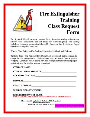 Portable fire extinguisher guide (printable). Fillable Online Fire Extinguisher Training Class Request Form Fax Email Print - PDFfiller