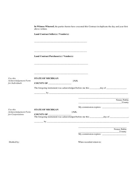 land contract form michigan free