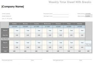 timesheet calculator  lunch template excel templates