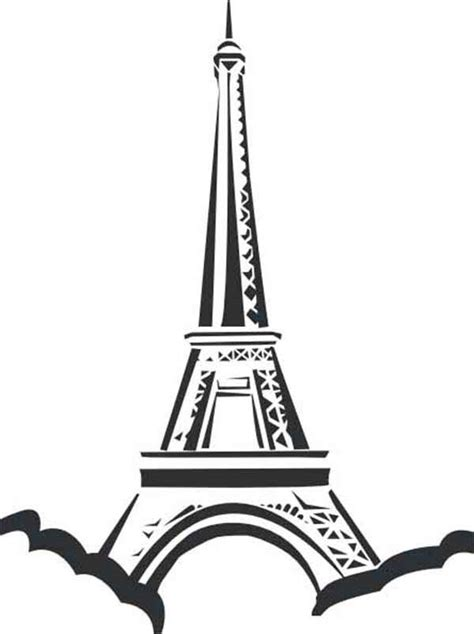 eiffel tower located  paris coloring page