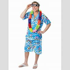 Mens Hawaiian Costume Stag Retro Beach Luau Tropical Aloha