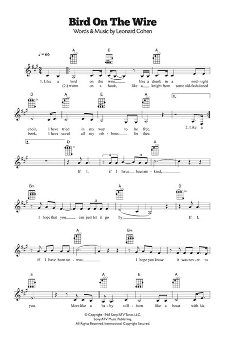 One morning while reading a newspaper, jarbas agnelli saw a photograph of birds on an electric wire. Bird On The Wire (Bird On A Wire) sheet music by Leonard Cohen (Ukulele - 120239)