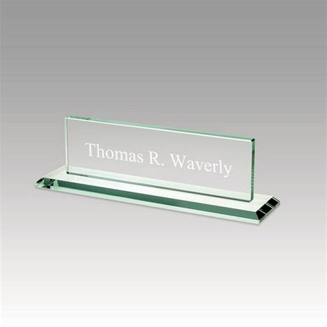 glass desk name plates personalized glass desk nameplate