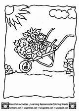 Coloring Gazebo Flower Template Wheelbarrow Library Clipart sketch template