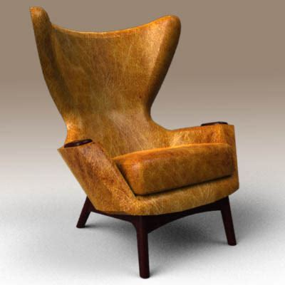Cowhide Wing Chair 3D Model   FormFonts 3D Models & Textures