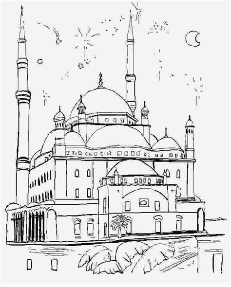 muslimah zone gambar mewarnai masjid