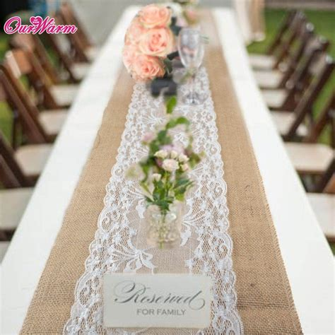 wedding table cloth runners 275 x 30cm burlap table runner rustic lace rose wedding
