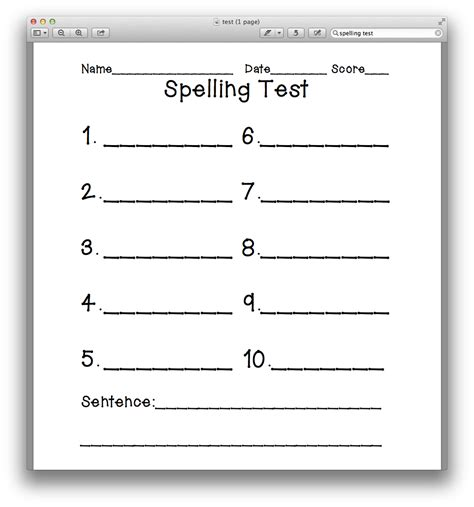 Spelling Test Template Search Results For Spelling Test Template 10 Words