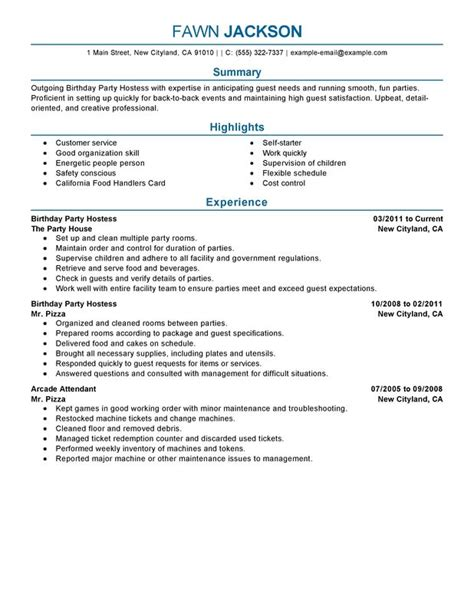 resume summary exles for hostess resume ixiplay free