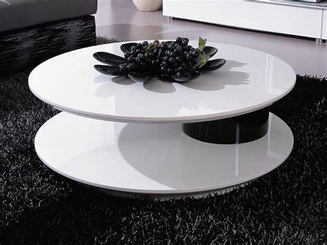 table basse ronde quot flavum quot mdf laqu 233 blanc noir 56891