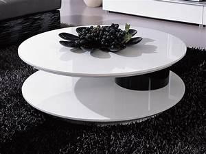 Table Basse Noire Ronde : table basse ronde flavum mdf laqu blanc noir 56891 ~ Teatrodelosmanantiales.com Idées de Décoration