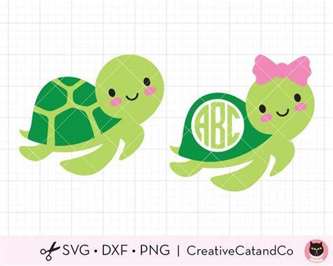turtle monogram svg dxf cute baby turtle boy  girl  bow etsy   cute baby