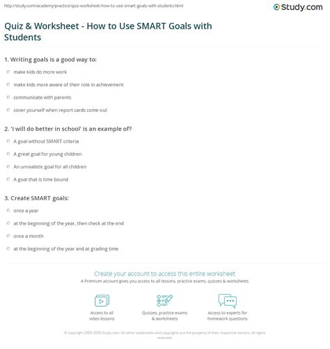 quiz worksheet    smart goals  students