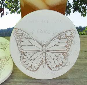 Clay, Drink, Coasters, Butterfly, Absorbent, Drink, Coasters, Set, Of, 4