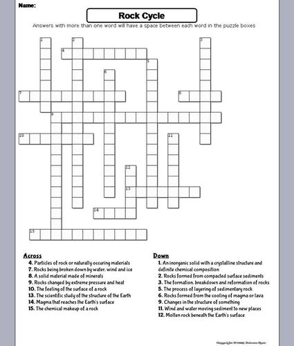 rock cycle crossword puzzle  sciencespot teaching