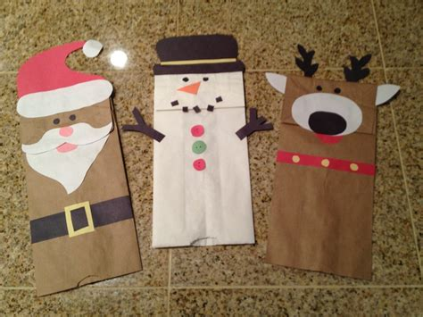 christmas craft paper bag hand puppets easy and cheap