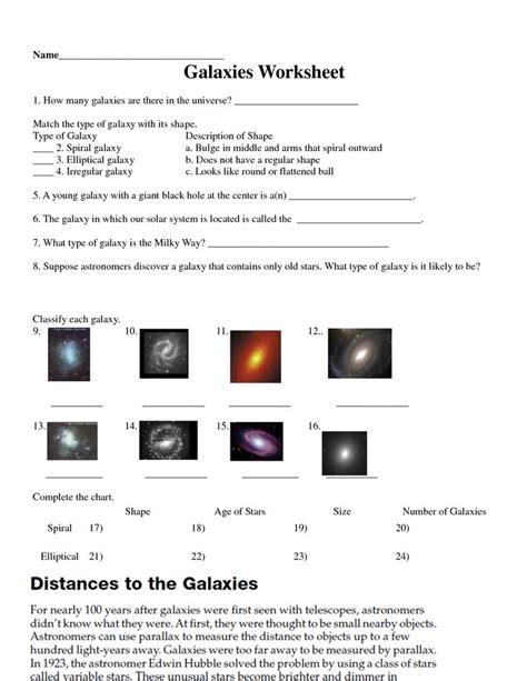 galaxy worksheet solar system worksheets school
