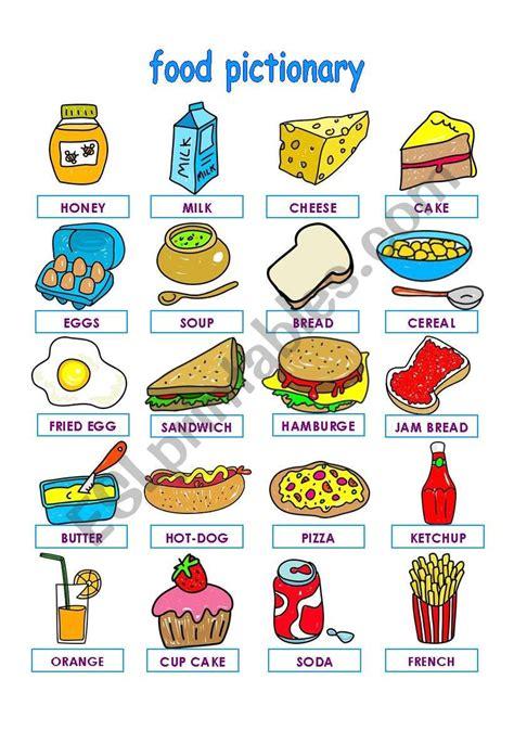 food pictionary part  esl worksheet  la luna