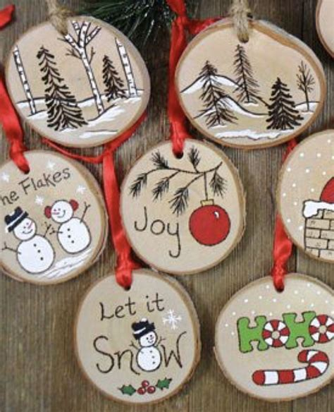 painted log slices christmas tree decorations