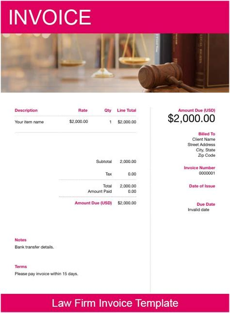law firm invoice template   send  minutes