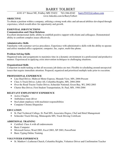 Exle Of Work Resume by Barry T Skills Resume
