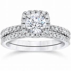 5 8ct cushion halo real diamond engagement wedding ring for Halo engagement rings with wedding bands