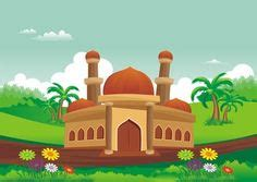 islamic cartoon mosque  beautiful natural