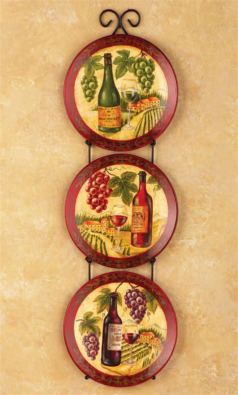 vineyard kitchen wall plates  holder wine bottles grapes bar country decor ebay