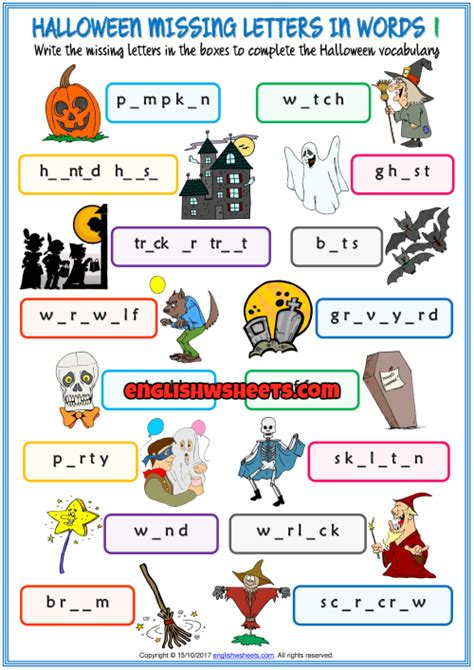 halloween missing letters  words exercise worksheets