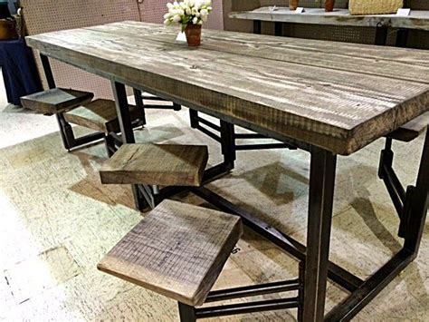 awesome table with attached swinging stools found in
