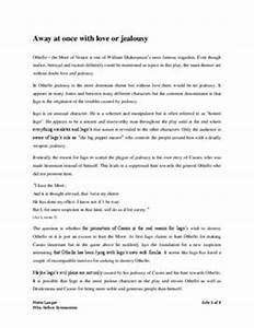 Essay On High School Othello Essay Jealousy Theme Research Essay Proposal Example also Public Health Essays Othello Essays On Jealousy Red Dog Essay Ideas Othello Literary  How To Write An Essay For High School Students