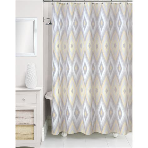 essential home shower curtain ikat yellow