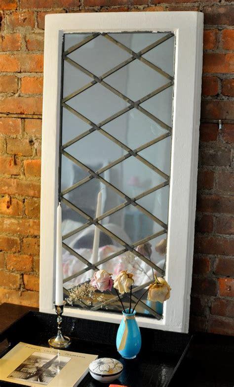 vintage diamond pattern leaded window frame mirror  etsy