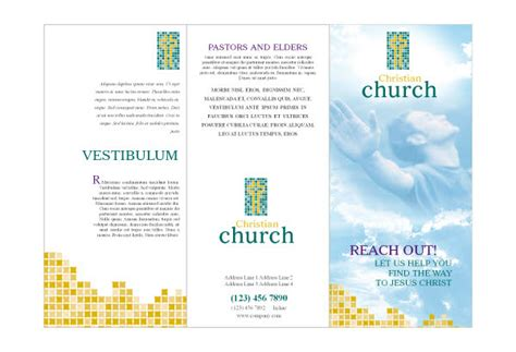 Free Church Brochure Templates by Christian Brochure Templates Bbapowers Info