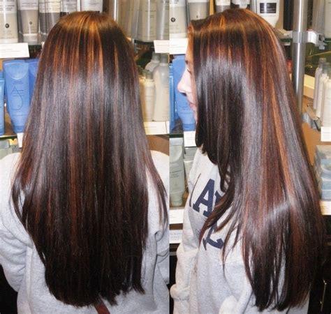 warm partial highlights   deep rich brunette color