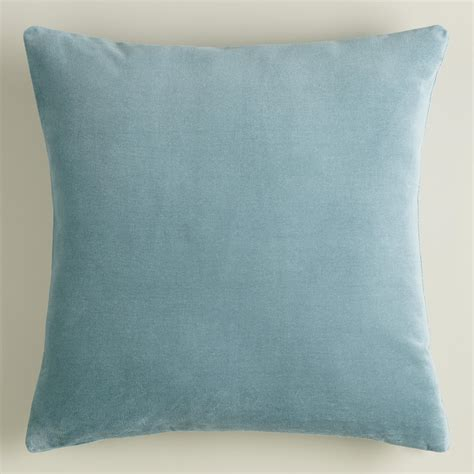 blue and throw pillows steel blue velvet throw pillow world market