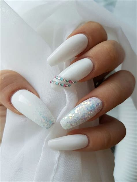 elegant long white coffin nail ideas