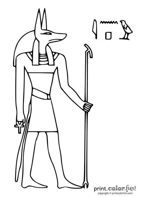egyptian god anubis coloring page print color fun