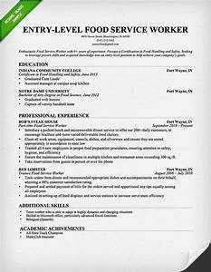 Housekeeper Resume Objective Entry Level Food Service Worker Resume Template Free