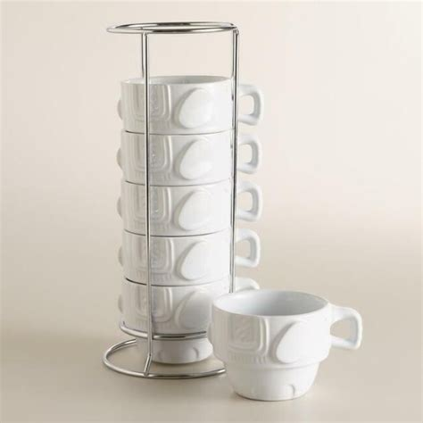 Find unique coffee cups at uncommon goods. World Market 6 Elephant Stacking Cups Coffee Mugs with Holding Rack Set #WORLDMARKET | Mugs ...