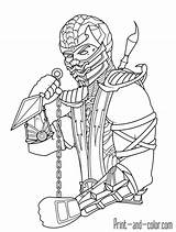 Mortal Kombat Coloring Pages Scorpion Colouring Printable Sheets sketch template