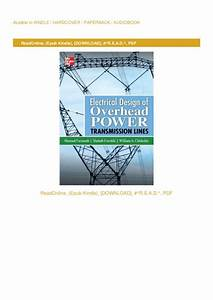 Electrical Design Of Overhead Power Transmission Lines Pdf