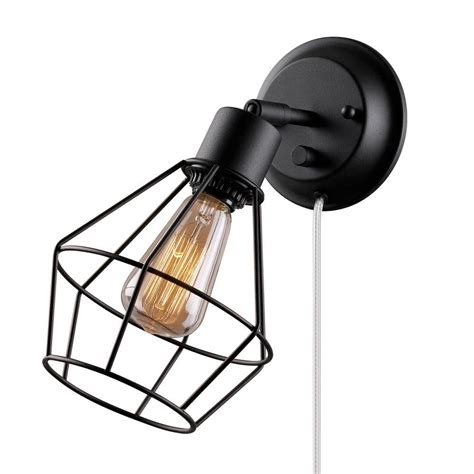 black wall l plug in globe electric 1 light black shade plug in wall sconce